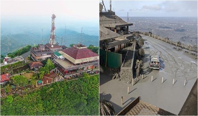 Peoples Park trước và sau khi núi lửa Taal phun khói, tạo nên cơn mưa bùn. Ảnh Tupanggala & Jerome Austrian Abuan.