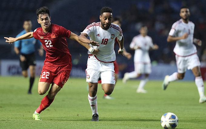 Tiến Linh không có nhiều cơ hội trong trận đấu với UAE. Ảnh: Đức Đồng.