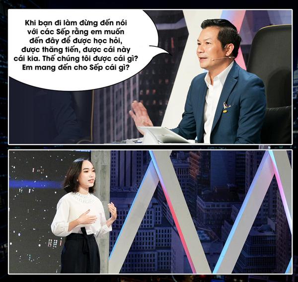 Sếp Phạm Thanh Hưng chất vấn ứng viên Trần Thị Phương Thảo.