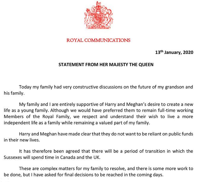 Bản tuyên bố của Nữ hoàng. Ảnh: PA.