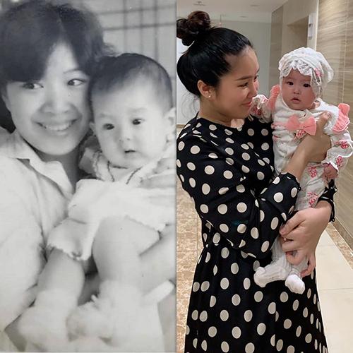 Lê Phương so sánh ảnh chụp hồi nhỏ của mình cùng mẹ (trái) và ảnh cô bế con gái Bông. Nhiều khán giả thấy nữ diễn viên quá giống mẹ.