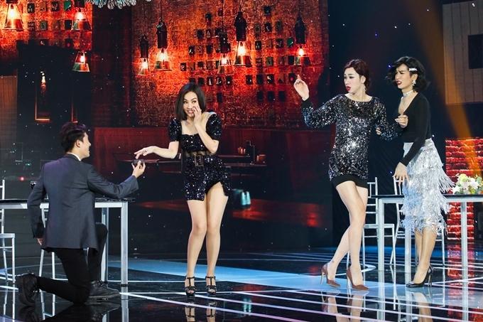 BB Trần, Hải Triều trong vai 'hộ tống' Thu Minh đi hẹn hò.