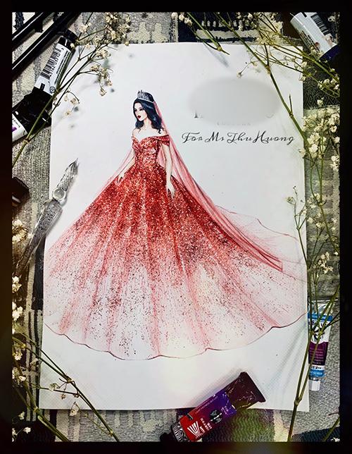 Bản phác thảo váy cưới tiền tỷ của cô dâu Đường Thu Hương. Váy cưới ombre cũng là hot trend được cô dâu ưa chuộng trong năm 2019 và chưa có xu hướng hạ nhiệt trong năm 2020.