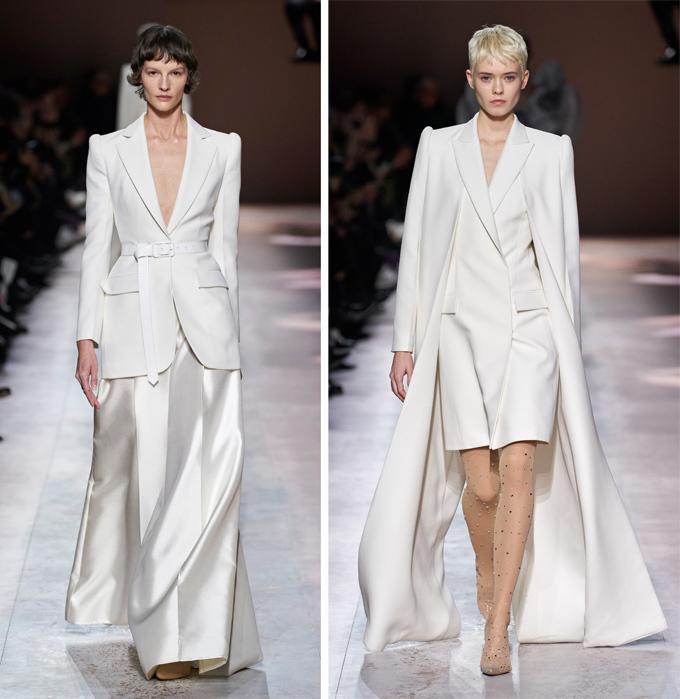 Bên cạnh những thiết kế cầu kỳ phô diễn khả năng sáng tạo của tác giả, giới mộ điệu còn được chiêm ngưỡng một vài bộ suit thanh lịch, mang tính ứng dụng cao.