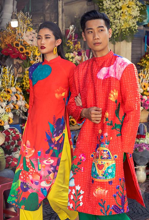 Trước nhu cầu và sở thích diện trang phục truyền thống dạo phố Tết, bộ sưu tập Ký ức tuổi thơ, nhà mốt Việt khai thác các mẫu áo dài cách tân cho cả nam và nữ.