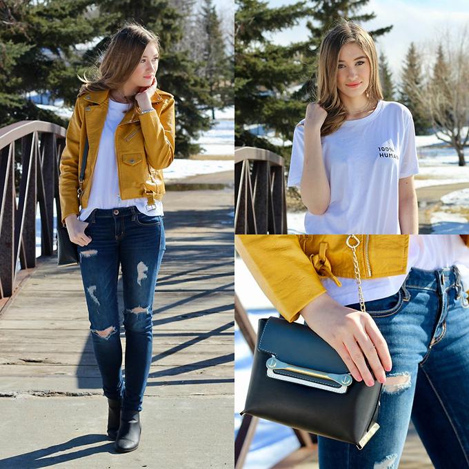 Áo khoác da dáng lửng kết hợp áo thun trắng và quần skinny jeans là phong cách không bao giờ lỗi mốt, dành cho các cô gái năng động, khoẻ khoắn.