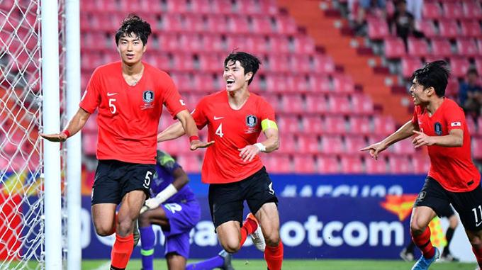 Jeong Tae-wook (số 5) ghi bàn thắng duy nhất cho Hàn Quốc. Ảnh: AFC.
