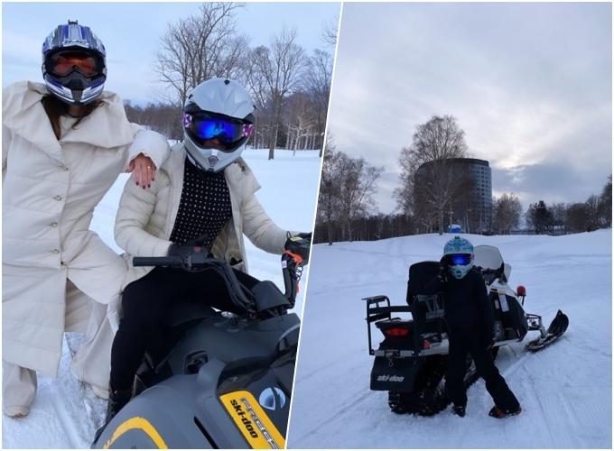 Hồ Ngọc Hà - Kim Lý và Subeo tỏ ra thích thú khi được trải nghiệm đi xe trượt tuyết - hoạt động ngoài trời yêu thích của du khách khi đến đây.