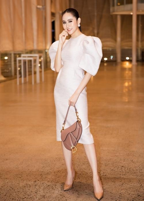 Trúc Ny cho biết cô là tín đồ của túi yên ngựa - một trong những biểu tượng của Dior, do John Galliano thiết kế. Mẫu túi màu nude với giá khoảng 2.450 USD (gần 57 triệu).
