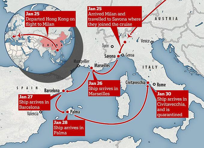 Hành trình của cặp vợ chồng Trung Quốc tại vùng Địa Trung Hải sau khi bay sang từ Kong Kong hôm 25/1. Đồ hoạ: Mail.
