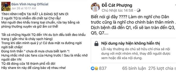 Đàm Vĩnh Hưng, Cát Phương đưa tin sai về dịch bệnh.