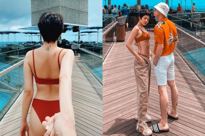 Ca sĩ Bảo Anh diện bikini ở Bali