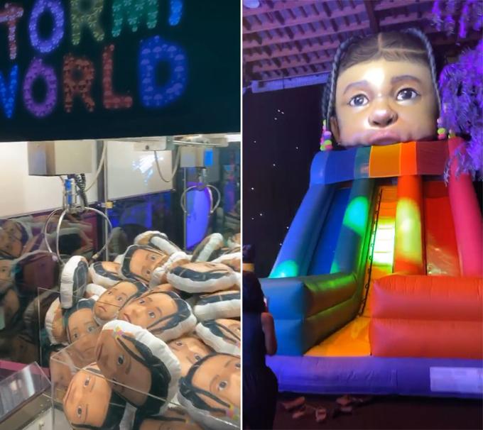 Các trò chơi trong công viên thế giới Stormi đều có hình gương mặt của cô bé.
