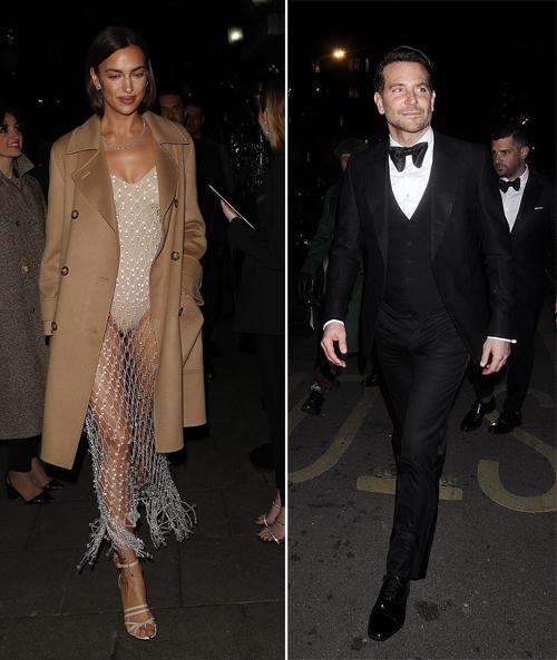 Irina Shayk và bạn trai cũ được mời tham dự bữa tiệc do tạp chí Vogue và thương hiệu Tiffany & Co tổ chức. Irina đến từ sớm còn Bradley xuất hiện sau.