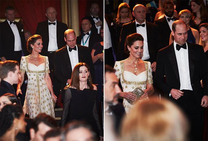 Trong khi vợ thu hút mọi ánh nhìn, Hoàng tử William cũng được nhận xét bảnh bao với bộ đồ dạ hội thắt nơ từng mặc trước đó và một đôi giày màu đen.