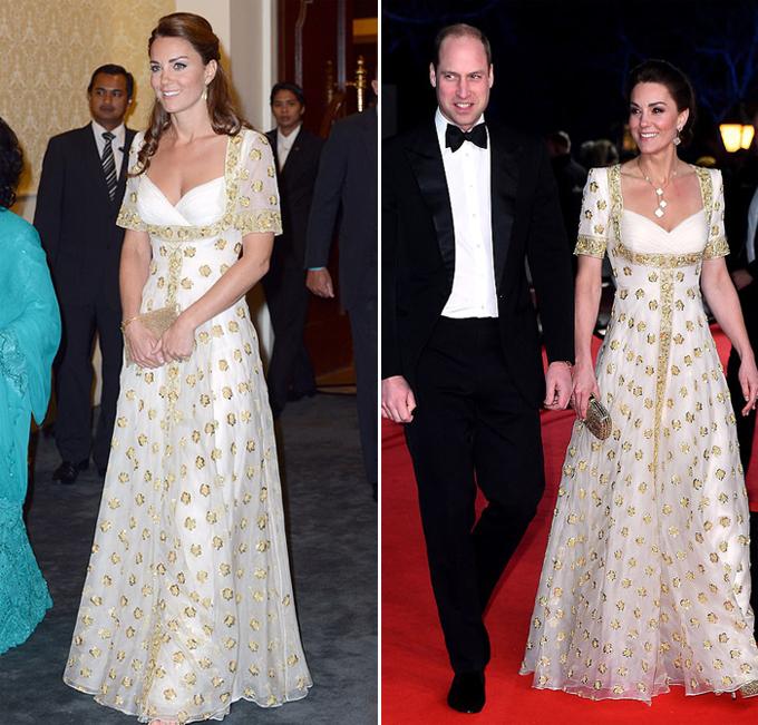 Chiếc váy của Alexander McQueen mà Kate mặc trong chuyến thăm Malaysia năm 2012 (trái) và trong sự kiện tối 2/2 (phải) được giữ gần như nguyên vẹn, chỉ sửa một chút ở phần vai.