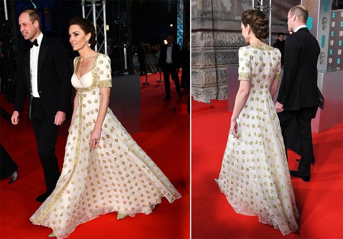 Bà mẹ ba con Kate được khen ngợi trong chiếc áy trắng đính hoa vàng của nhà thiết kế Alexander McQueen.