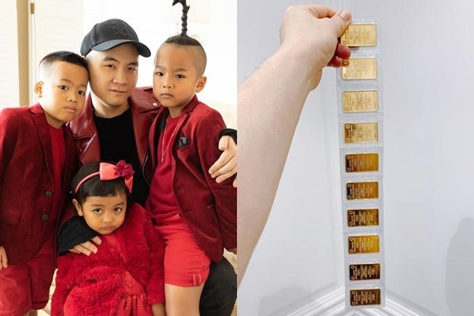 Hàng năm, nhà thiết kế Đỗ Mạnh Cường thường mua khoảng 5 cây vàng trong ngày vía thần Tài. Nhưng Tết Canh Tý này, anh quyết định mua gấp đôi xem như món quà tiết kiện cho các con.