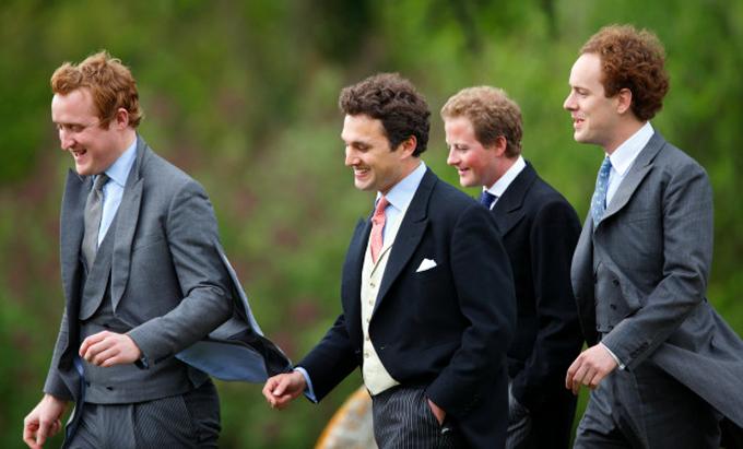 Nhóm bạn thân của Hoàng tử Harry: Harry Aubrey-Fletcher, Thomas van Straubenzee, Guy Pelly và Tom Inskip (từ trái qua). Ảnh:
