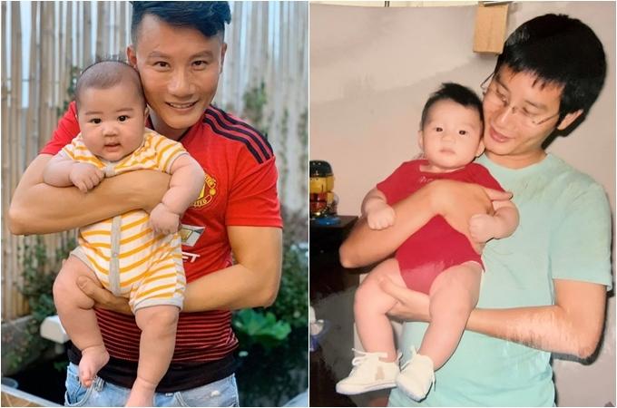 Ca sĩ Hoàng Bách đăng ảnh cùng con trai đầu cách đây 12 năm và hiện tại cùng con út.
