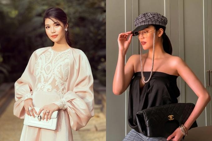Nhờ vóc dáng cao ráo, Lan Khuê không thay đổi nhiềukhi mang thai con trai đầu lòng (ảnh trái). Do đó sau sinh, cô nhanh chóng giảm 5 kg, thon gọn như thuở son rỗi. Cô còn khoe bức ảnh diện vừa chiếc áo cũ nhiều năm trước (ảnh phải).