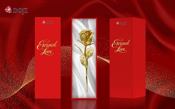 Với dòng sản phẩm quà tặng Kim Bảo Phúc, DOJI khuyến mại giảm giá 10-20%. Trong đó, quà tặng Hoa hồng vàng - biểu trưng tình yêu quý giá, sâu đậm, hứa hẹn là món quà ý nghĩa cho mùa Valentine năm nay.