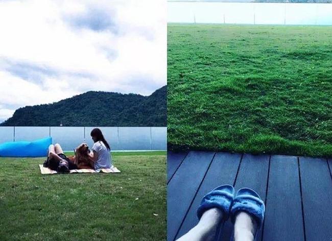 Bãi cỏ rộng trước nhà là nơi để thư giãn.