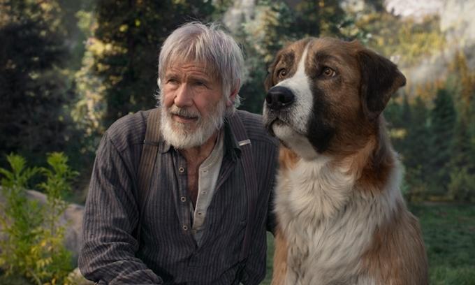Harrison Ford bên chú chó kỹ xảo trong phim Tiếng gọi nơi hoang dã.