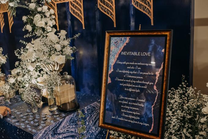 Bảng welcome đám cưới phần nào giải thích về concept tiệc.
