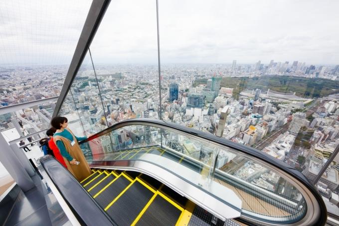 Sau khi dạo chơi chán chê bên trong, du khách đi thang cuốn dẫn lên sân thượng để ngắm toàn cảnh thành phố ở độ cao gần 230 m.