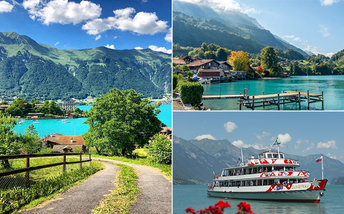 This landing stage sits in the village of Iseltwald at the southern shores of Lake Brienz, Switzerland. It is located right in front of the private residences Seepark Iseltwald and next to the boat's stop Harbor Iseltwald [Anlegestelle Iseltwald (See)]. The latter is served by the privately owned public transportation company BLS (seen also in Crash Landing on You). The three-star Strandhotel Iseltwald am Brienzersee is located right at this harbor, which is a 10 min. car ride away from Interlaken.  Address Strandhotel Am Strand 77, 3807 Iseltwald, Switzerland Geolocation: 46.711958, 7.962973 Geolocation landing stage: 46.711414, 7.962561  Getting here Via ship: Harbor Iseltwald (See), BLS Via train: Interlaken Ost Station, SBB/CFF (Take bus no 103 for 21min to Iseltwald, Dorfplatz)
