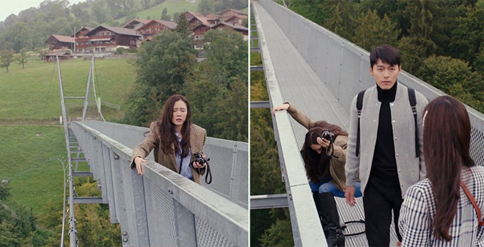 At the end of episode 4 of Crash Landing on You (사랑의 불시착) (tvN, 2019-20), Yoon Se-ri (Son Ye-jin) wants to commit suicide on this bridge. At the same time, Ri Jeong-hyeok (Hyun Bin) and his fiancée Seo Dan (Seo Ji-hye) are here to take pictures. Ri Jeong-hyeok stops Yoon Se-ri from commiting suicide by asking her to take a picture of them and walking off the bridge.