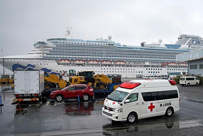 Du thuyềnDiamond Princess tại cảnh Yokohama hôm 16/2. Ảnh: EFP.