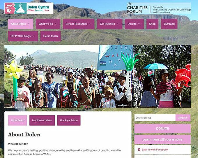 Giao diện trang web của tổ chức từ thiện Dolen Cymru. Ảnh chụp màn hình.