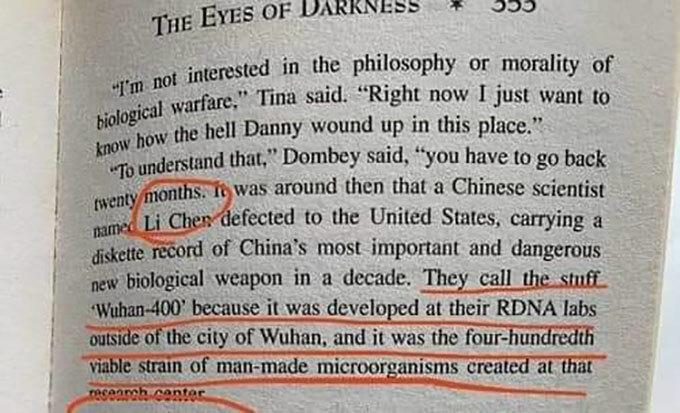 Một trang trong The Eyes of Darkness của nhà văn Dean Koontz. Ảnh: Taiwan News.