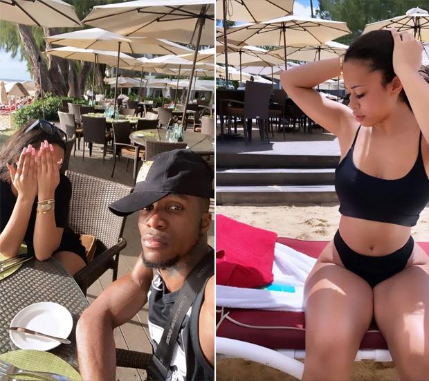 Người đẹp nóng bỏng Paige Bannister che mặt khi Zaha selfie cặp sao trong kỳ nghỉ ở Barbados. Ảnh: Instagram.