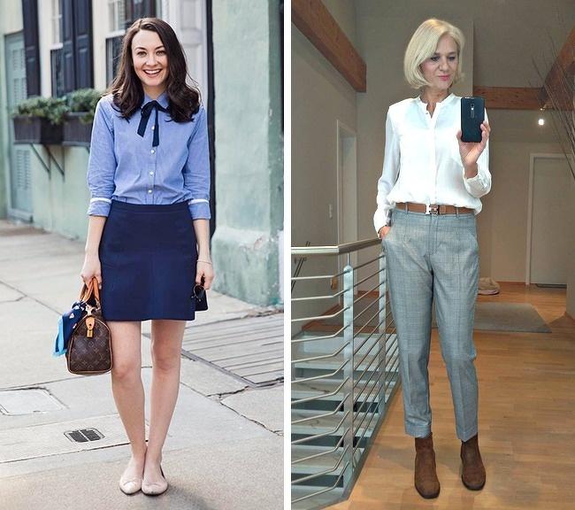 Sơ mi cổ điểnMột chiếc áo cắt may chỉn chu giúp phụ nữ 40 trông tươi trẻ hơn, trong khi nó vẫn phù hợp để cô nàng đôi mươi khoác lên mình, tạo nên hình ảnh chững chạc.