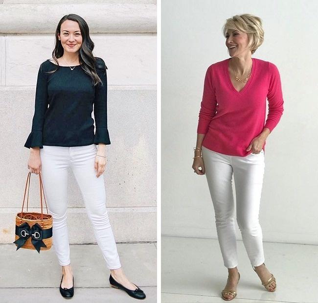 Quần trắngKhông nhàm chán như quần gam tối, các mẫu quần jeans hay kaki màu trắng sẽ thắp sáng tổng thể, giúp phong cách trở nên cuốn hút hơn.