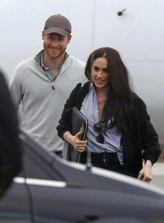 Harry và Meghan từ Mỹ về Canada hôm 14/2. Ảnh: Backgrid.