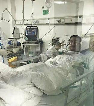 Bác sĩ Bành Ngân Hoa trên giường bệnh điều trị nCoV. Ảnh: China Plus.
