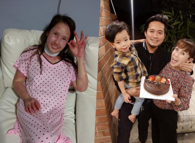 Cơ thể chị Gia Huyên thay đổi trong khi mang thai (ảnh trái)và phục hồi sau khi sinh con (ảnh phải)
