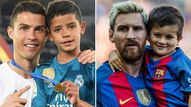 Con trai của C. Ronaldo và Messi đều hâm mộ địch thủ của bố.
