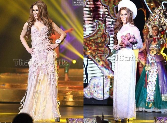 Angelia trình diễn áo dài (phải) trong phần thi trang phục dân tộc. Kết quả cô không đoạt bất cứ thành tích nào.