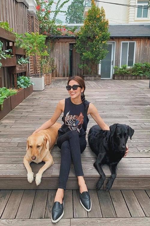 Phút bình yên của người đẹp bên cạnh hai chú chó cưng.