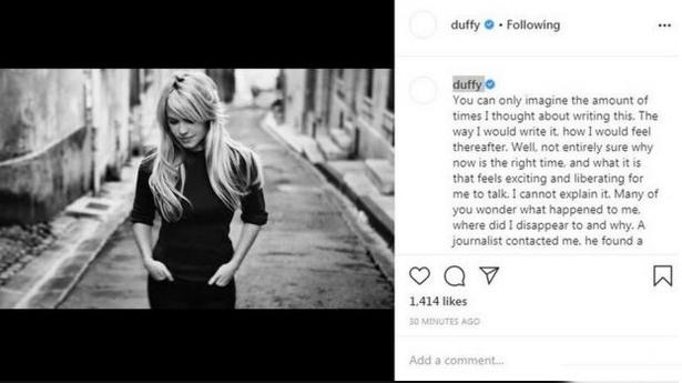 Duff trải lòng trên Instagram.