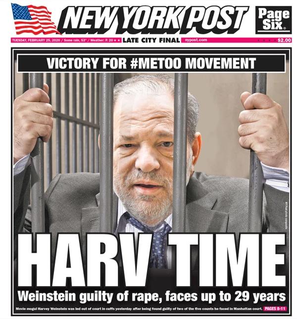 Harvey Weinstein trên trang bìa tờ New York Post.