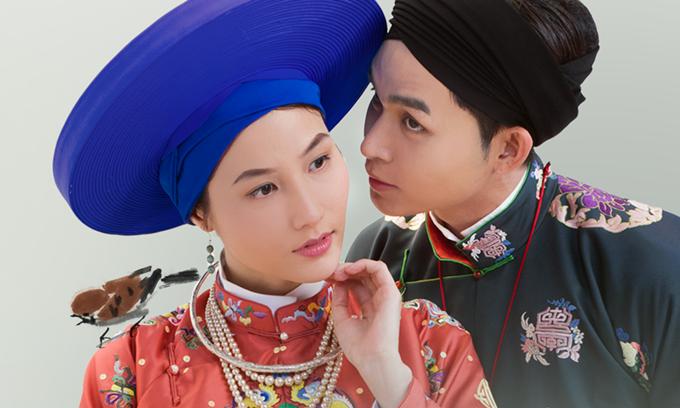 Diễm My 9x và Jun Phạm trong tạo hình phim Phượng khấu.