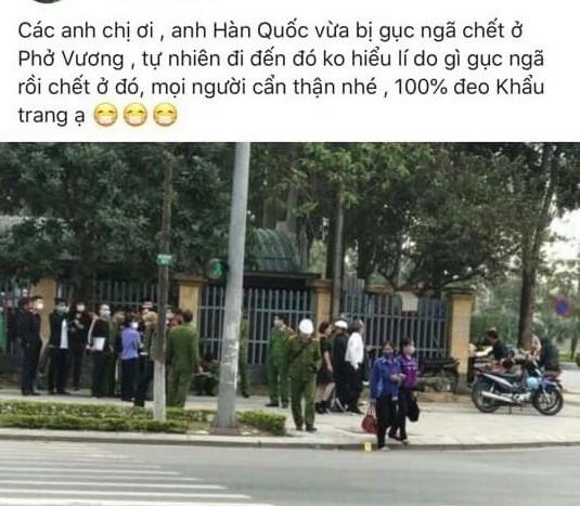 Thông tin người đàn ông Hàn Quốc tử vong tại Bắc Ninh lan truyền trên mạng xã hội.