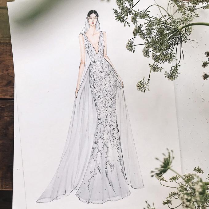 Muốn diện một chiếc váy cưới thể hiện đúng bản thân, nênHà Phan không tìm mua váy có sẵn mà muốn một bộ đầm cưới được thiết kế riêng. Sau đó, chị tình cờ biết đến NTK Vĩnh Thụy thông qua mẫu váy mà bạn thân diện trong đám cưới. Chị quyết định tìm anh thiết kế váy dù đôi bên cách nhau nửa vòng trái đất.