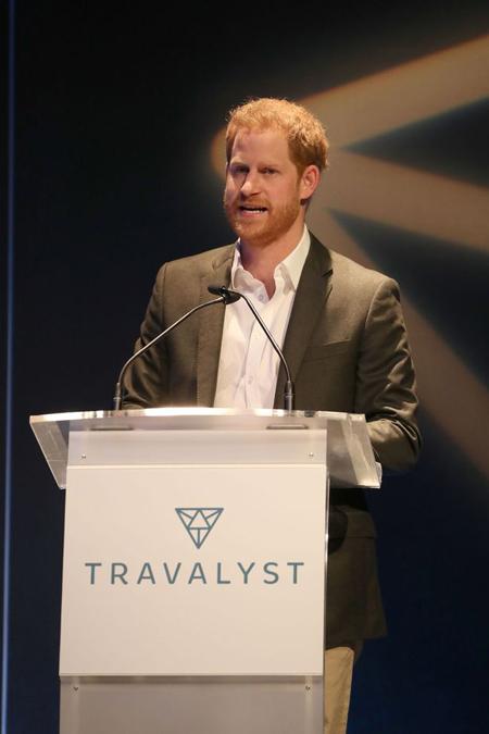 Hoàng tử Harry phát biểu tại hội nghị Travalyst. Ảnh: PA.